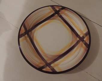 Mid Century California Pottery Brown and Yellow 12.5-Inch Serving Platter Chop Plate Vernon Ware Vernonware Organdie Pattern