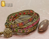 Wrap Bracelet with Crystals and Beads on Bronze Leather with Bronze Button