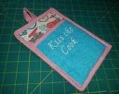9 X 7 Bicycles and Scooters Pot Holder, Hot Pad, Oven Mitt, Insulated, Quilted, Pocket, Loop, Aqua, Coral, Pink, Gray, White, Kiss the Cook