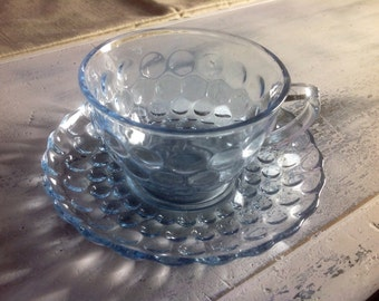Vintage Anchor Hocking Sapphire Blue Bubble Cups and Saucers Set of Eight