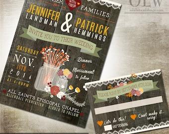 Fall Wedding Invite | Mason Jar Invitation | Rustic Wedding Staionery Invitation and RSVP Card | Digital Printable