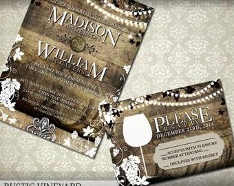 Rustic Vineyard Wedding Invitation and RSVP - Vineyard Wedding Invitations - Grapevines on wood background Digital Printable Invitation