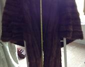 Fur Shawl Dupler Large brown fur monogrammed coat dressware vintage fur