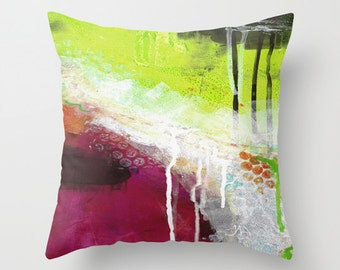 Throw Pillow Cover, Lime Zest, pillow cover, Watercolor Painting, Merlot and Lime