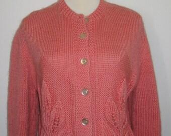 Vintage Handmade Handknit Wool Cardigan Sweater Womens L