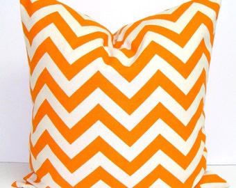 ORANGE PILLOW.18x18 inch.Chevron Pillow Cover.Decorative Pillows.Throw Pillow Cover.Housewares.Home Decor.ZigZag Stripes.Cushion.Orange .Cm