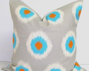 SALE GRAY PILLOW Sale.Blue.16x16 inch.Ikat.Decorative Pillow Cover.Housewares.Home Decor.Spots.Ikat.Grey.Blue Orange Gray Pillow Cover.Turqu