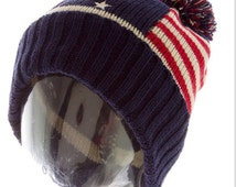 American Flag, Hats Knit Hat Red White Blue, Winter Beanie, Unisex Hat Stocking Stuffer - By PiYOYO
