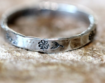 fine silver daisy ring, hand stamped silver band, hand forged silver stacking ring, artisan hammered silver band by girlthree, made in usa