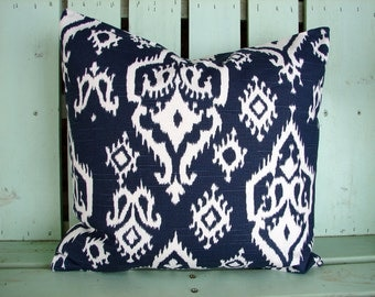 New 18x18 navy, white Ikat premier print pillow cover-accent pillow-college gift- decorative pillow cover-gifts under 40-throw pillow