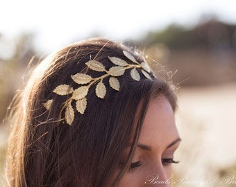 Large Gold Leaf Headband,Grecian Headband,Holiday Hair Accessory,Gold Brass Headband,Large Leaf, Greek Leaf Headpiece,Greek Headpiece Greek