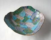 Handmade Blue, Mauve, Tan and Green Ceramic Serving Bowl