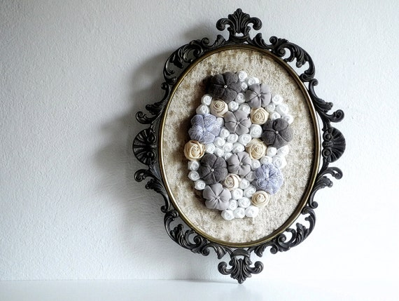Baroque metal framed art Fabric flower wall decoration 3D