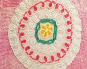 Baby Blanket, Baby Girl Quilt, Chenille Blanket, Baby Quilt, Lap Blanket,, Quilt Blanket, Vintage Chenille, Handmade Blanket, Lap Quilt