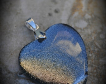 Heart Silver Plated Dichroic Fused Glass Pendant 6010