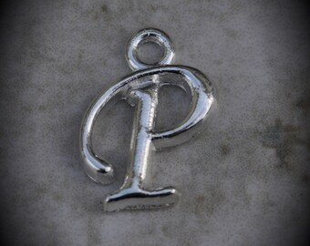 Letter P Silver Plated Charm