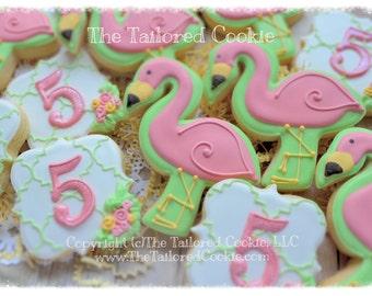 Flamingo Party, Number Plaque, Happy Birthday, Pink Flamingos, Shortbread Sugar Cookie Favors