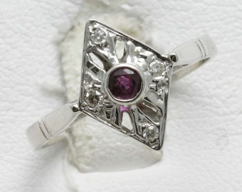 Vintage 14k white gold Diamond & Ruby Ring Victorian Reproduction red