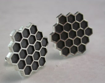 Honeycomb Cufflinks (Sterling Silver, White Gold, Yellow Gold, Bronze)