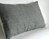 Decorative Oblong Lumbar Throw Pillow Cover Olive Green and Beige Wool Harris Tweed - Herringbone Pattern Accent Cushion Cover