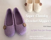 Crochet slippers PDF pattern, Super chunky slipper pattern , women shoe pattern