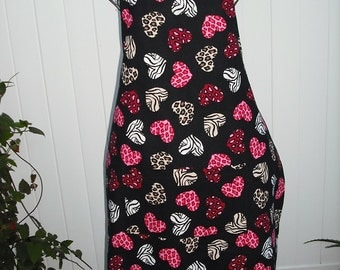 Heart Valentine Animal Print apron with pocket. 100% Cotton.