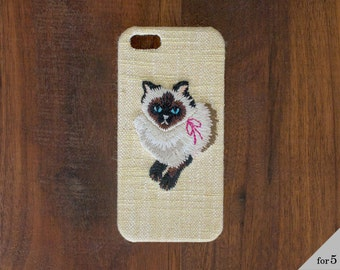 Embroidered iPhone case cat (Yellow) for iPhone5 / 5s