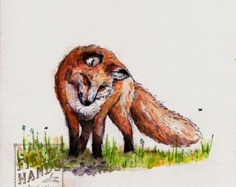Original Red Fox Watercolor Illustration