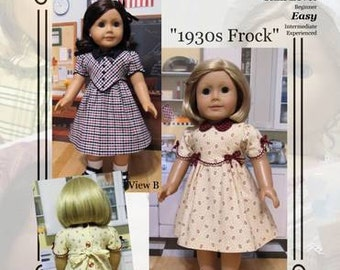 "PDF Pattern KDD05 ""1930s Frock"" -An Original KeepersDollyDuds Design, 18"" Doll Clothes Fits American Girl"