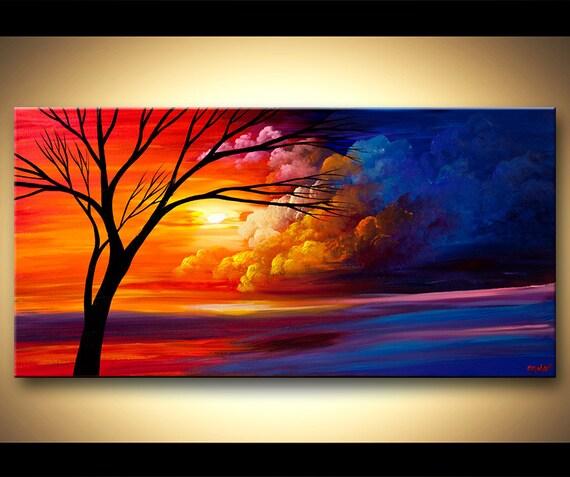 peinture acrylique paysage peinture color coucher de soleil. Black Bedroom Furniture Sets. Home Design Ideas
