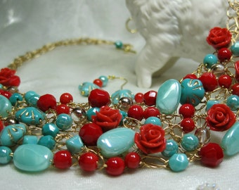 Red and Turquoise Beaded Wire Crochet Bib Necklace Set, handmade bead jewelry