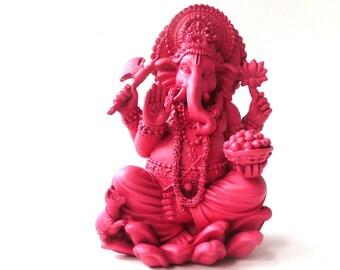 ganesha statue, hindu art, bohemian decor, magenta, elephant god, ganesh