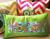"Colorful Green & Paisley ""Merry"" Pillow cover"