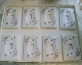 RESERVED FOR PAT - Porcelain Switchplate Covers Vintage Florals Shabby Chic