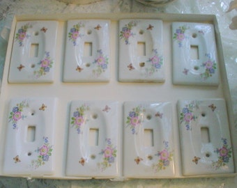 Porcelain Switchplate Covers Vintage Florals Shabby Chic