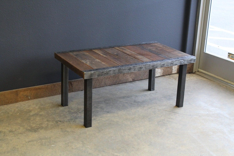 custom straight steel leg coffee table with antique barnwood. Black Bedroom Furniture Sets. Home Design Ideas