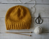 Hat Winter Hand Made Honey Yellow Slouchy Hat 100% Wool Winter Hat Beanie