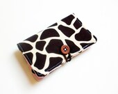 Ivory Brown Giraff  Fabric Business Card Holder, with Pink with Brown Polka Dot - Credit Card Holder, Cloth Card Holder, Gift Card Holder
