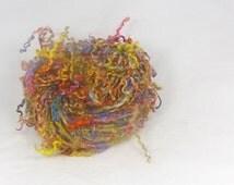 Rainbow colours - Tail spun Teeswater  locks - Hand spun luxurious art yarn. Hand dyed. Lush rainbow locks