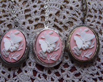 Kawaii Locket PINK & White Butterfly Cameo Ladies Silver Filegre art designer Necklace Pendant