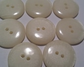 "8 Large Ivory Shimmery Matching Buttons with AB finish for Sewing and Crafts, 4 holes, Size 15/16"", 24mm, 38L - CLEARANCE SALE"