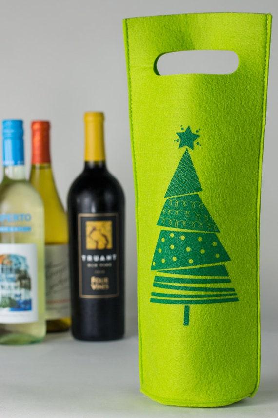 Wine Tote - Light Green Felt - Christmas Tree