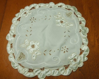 Vintage Ivory Embroidered doily with open work for housewares, home decor by MarlenesAttic