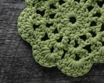 Mug Rug, Crochet Coasters, Hostess Gift, For Her, Made in Michigan, Lime Green, Coasters, Housewares, Gift Set,  Set of 4 Crochet Coasters