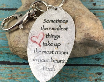 WInnie the Pooh Keychain, Sometimes the smallest things take up the most room in your heart keychain, Gift for new mom, Winnie the Pooh gift