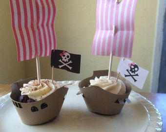Ship and Pirate Ship Cupcake (pink)