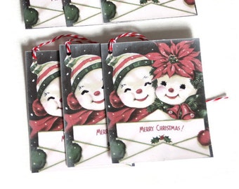 Christmas Gift Tags Retro Vintage Inspired Snowman MCM  Set of 6 Mid Century