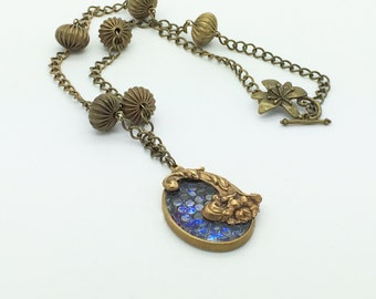 Glass Snake Skin Cabochon Necklace - Vintage and New Components Used - Victorian Look and Feel - Gorgeous!