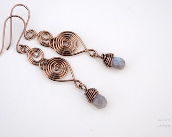 Labradorite drop earrings ~ Wire jewelry ~ Handmade
