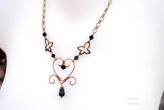 Heart wire necklace ~ Wire wrapped jewelry ~ Handmade